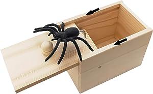 Rtudan Original Spider Scare Prank Box, Hilarious Wooden Scare Box,Handmade Fun Joke Scarebox Toy,Practical Gift Toy Spider Box Prankoy Prank for Kids Adults
