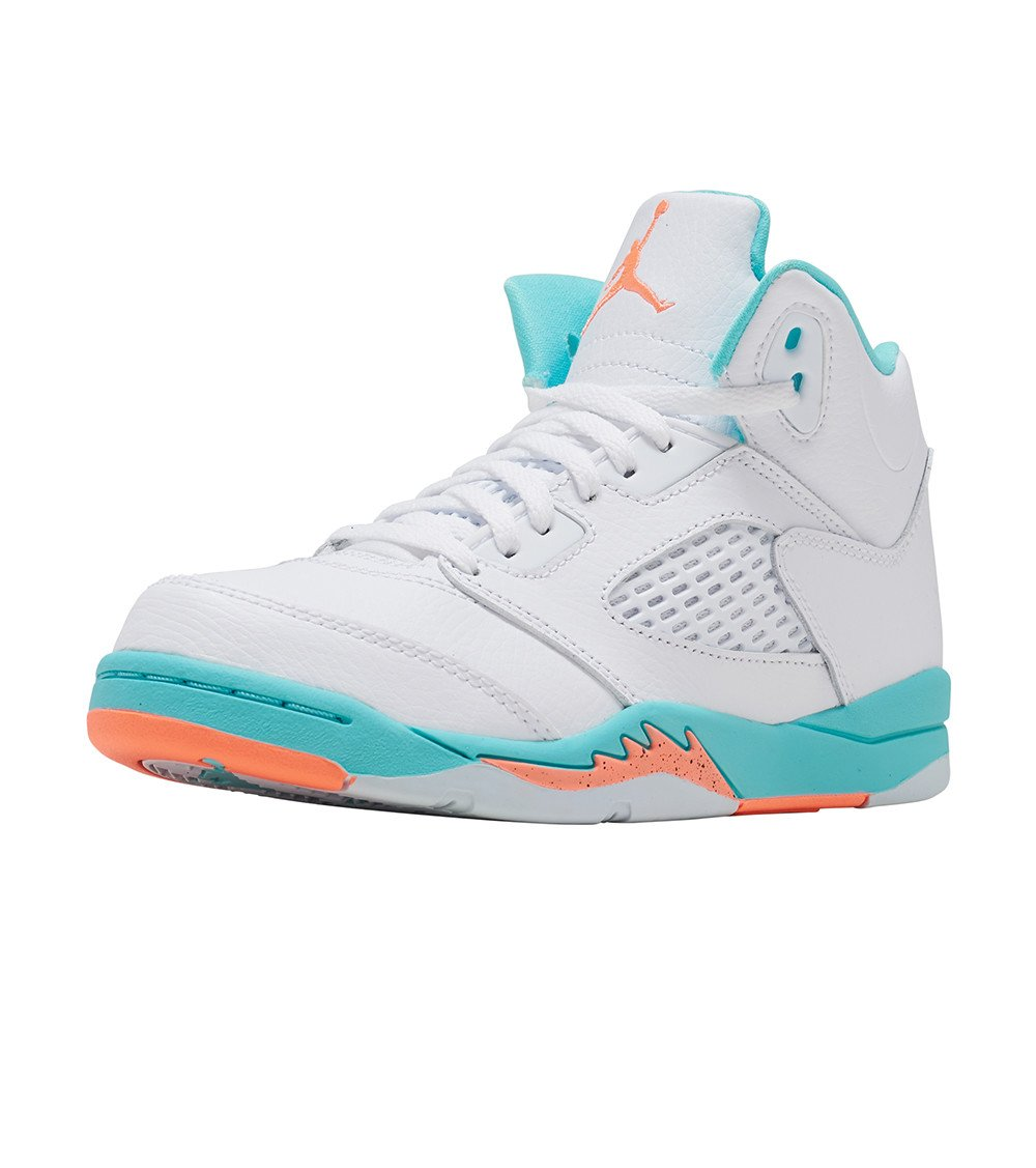 Jordan Nike 5 Retro Kids GP White/Crimson Pulse-Light Aqua 440893-100 (Size: 13C)