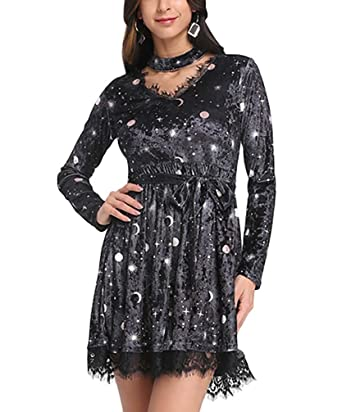 fefae4ae972 Women Sexy V Neck Long Sleeve Choker Spliced Lace Belted Moon Print Velour  Dress at Amazon Women's Clothing store: