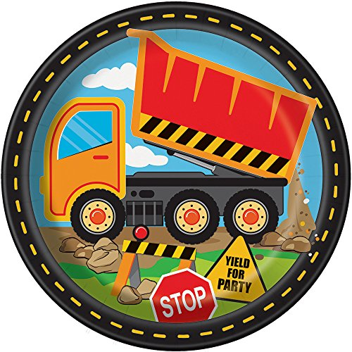 Construction Truck Birthday Dinner Plates, 8ct