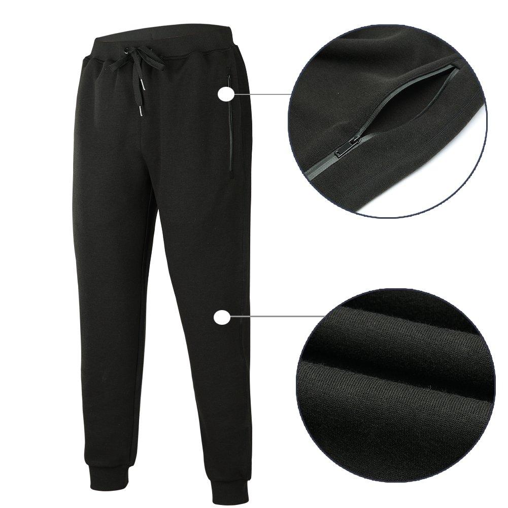 beroy Mens Jogger Pants Basic Active Training Running Gym Workout Pants Zipper Pockets Sweatpants