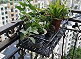 Balcony Flower Pot Stand Rack Railing Shelf, 2 Hooks Balcony Windows Flower Pot Holder