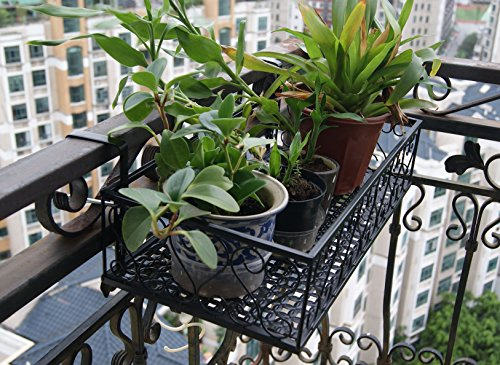 Balcony Flower Pot Stand Rack Railing Shelf, 2 Hooks Balcony Windows Flower Pot Holder ()