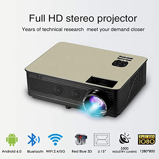 SEXTT Inicio proyector de Android, 2500 lúmenes HD portátil WiFi ...