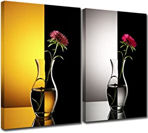 KLVOS Modern Floral Canvas Wall Art Red Flower in Vase over Black and white Yellow Background Nature Beauty Blossom Artwork for Home Decor Stretched and Framed Ready To Hang 16inchx24inchx2
