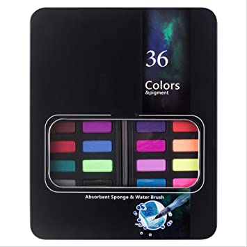 SQWK 36 colores Traje de pintura de acuarela sólida Caja de hierro ...