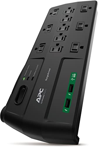 APC Surge Protector with USB Ports, P11U2, 2880 Joule, 6 Cord, Flat Plug, 11 Outlet Power Strip