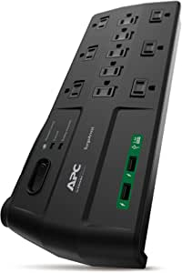 SCHNEIDER ELECTRIC APC 11-Outlet Surge Protector Power Strip with USB Charging Ports, 2880 Joules, Surge Arrest Home/Office (P11U2)