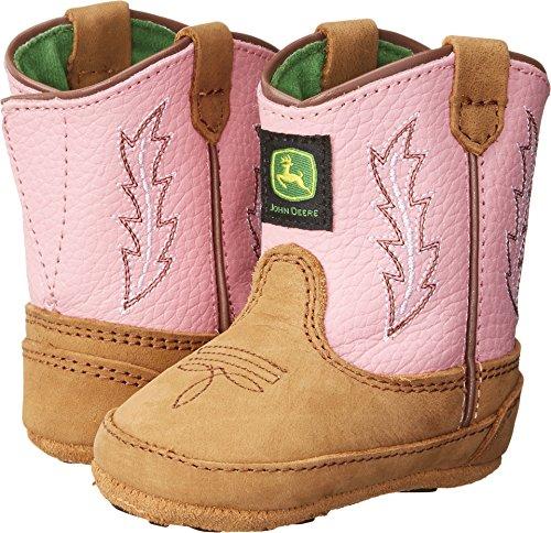 - John Deere 185 Western Boot (Infant/Toddler),Tan/Pink,3 M US Infant