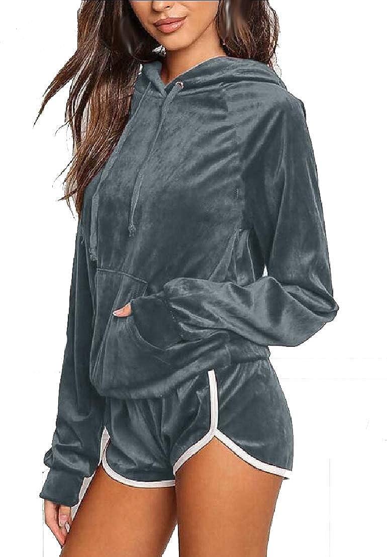 desolateness Women Velvet 2 Piece Long Sleeve Hoodies Sweatshirt Shorts Sets Sport Suit Tracksuit