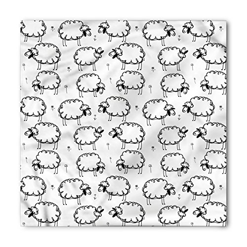 Ambesonne Unisex Bandana, Funny Funny Sheeps on a Meadow, White and Black