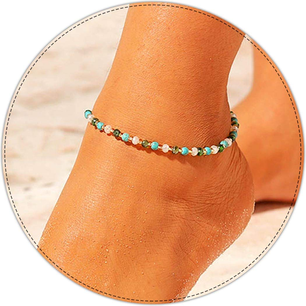 Aukmla Boho Crystal Ankle Bracelets Anklets Chain Beach Foot Jewelry for Women and Girls