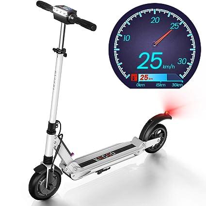 urbetter Patinete Eléctrico Scooter Plegable E-Scooter Batería 350W Manillar Ajustable Freno Pie de Apoyo Juventud Adultos, 30Km Alcance Carga 120kg - ...