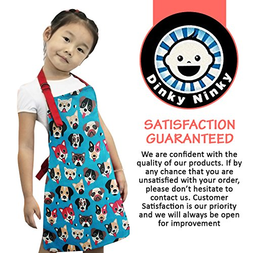Child Apron For Cooking and Painting - Unique Cute Dog Print in Wipe Clean PVC Coated Cotton for Toddlers Age 4-7 (medium, blue) by Dinky Ninky (Image #6)