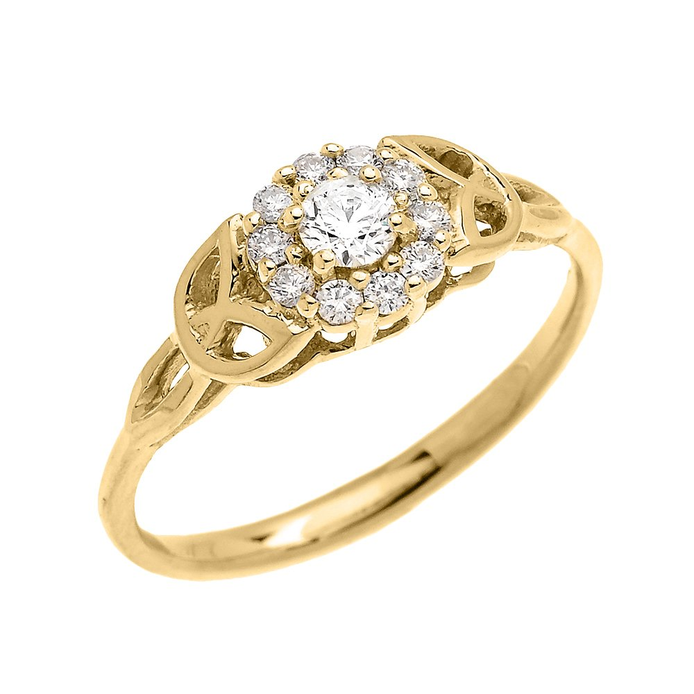 Dainty 14k Yellow Gold Trinity Knot Halo Solitaire CZ Engagement and Proposal Ring (Size 5.5)