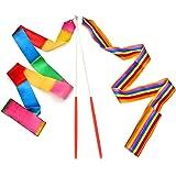 Dance Ribbons Rainbow Streamers Rhythmic Gymnastics Ribbon Baton Twirling Wands on Sticks 2pc for Kids Artistic Dancing