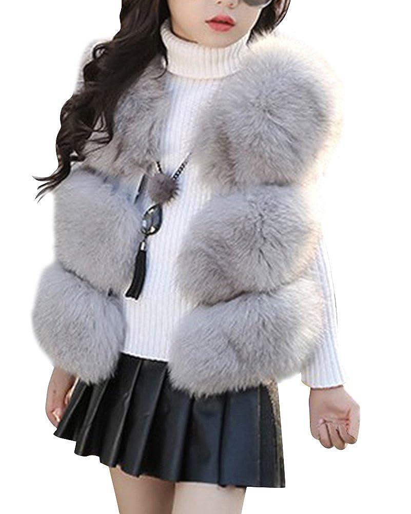 LaoZan Little Girl's Warm Short Gilet Slim Vest Faux Fur Coat Sleeveless Jacket Waistcoat Outwear