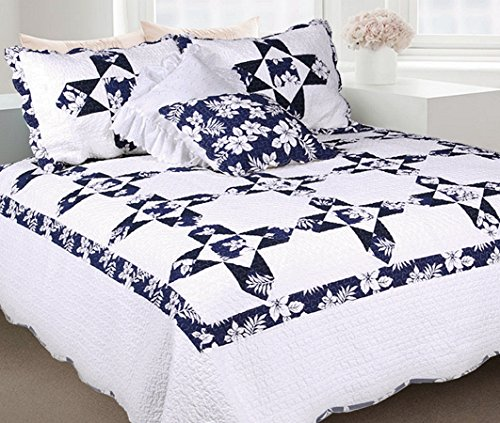 - Cozy Line Home Fashions Cruciate Flower Quilt Bedding Set, Snow White Dark Navy Blue Pattern, 100% Cotton Reversible Coverlet,Bedspread, for Bedroom/Guestroom(Flower - White, Queen - 3 Piece)