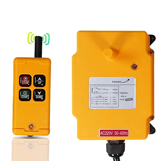 MXBAOHENG Mando para Grua HS-4 220 V Mando Puente Grua Mando para Polipasto Mando Grua 4 Canales 1 Receptor 1 Transmisor