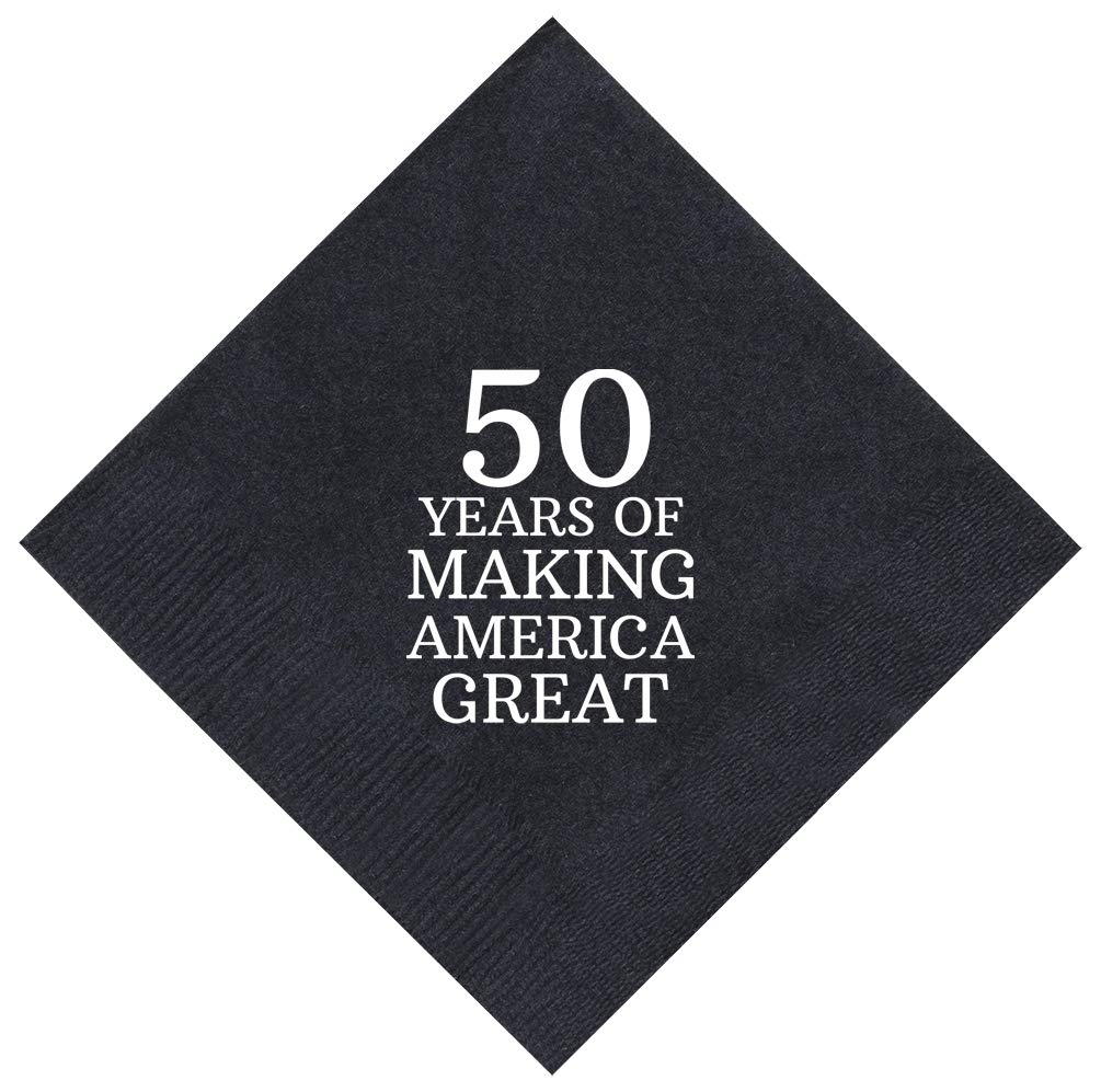 50th Birthday Gifts 50 Years Making America Great 50 Pack 5x5'' Party Napkins Cocktail Napkins Black