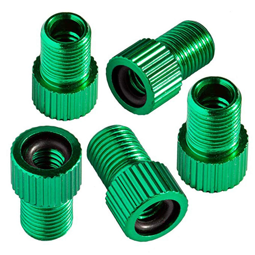Chartsea 5PC Anodized Machined Aluminum Alloy Bicycle Bike Tire Valve Caps Dust Covers French Style Presta Valve Cap (Green)