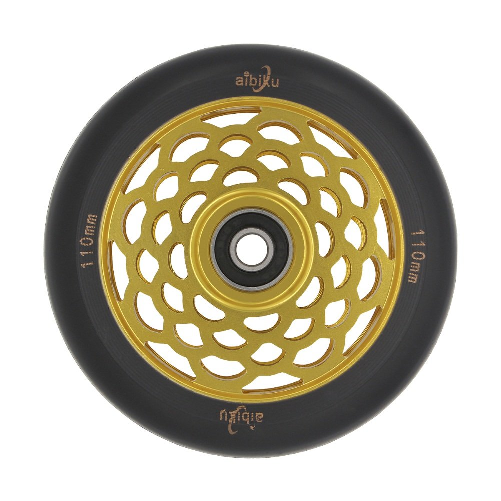 aibiku Honey-Hollow Core Pro Stunt Scooter Wheel 110mm Replacement Wheels with ABEC-11 Bearing (Gold)