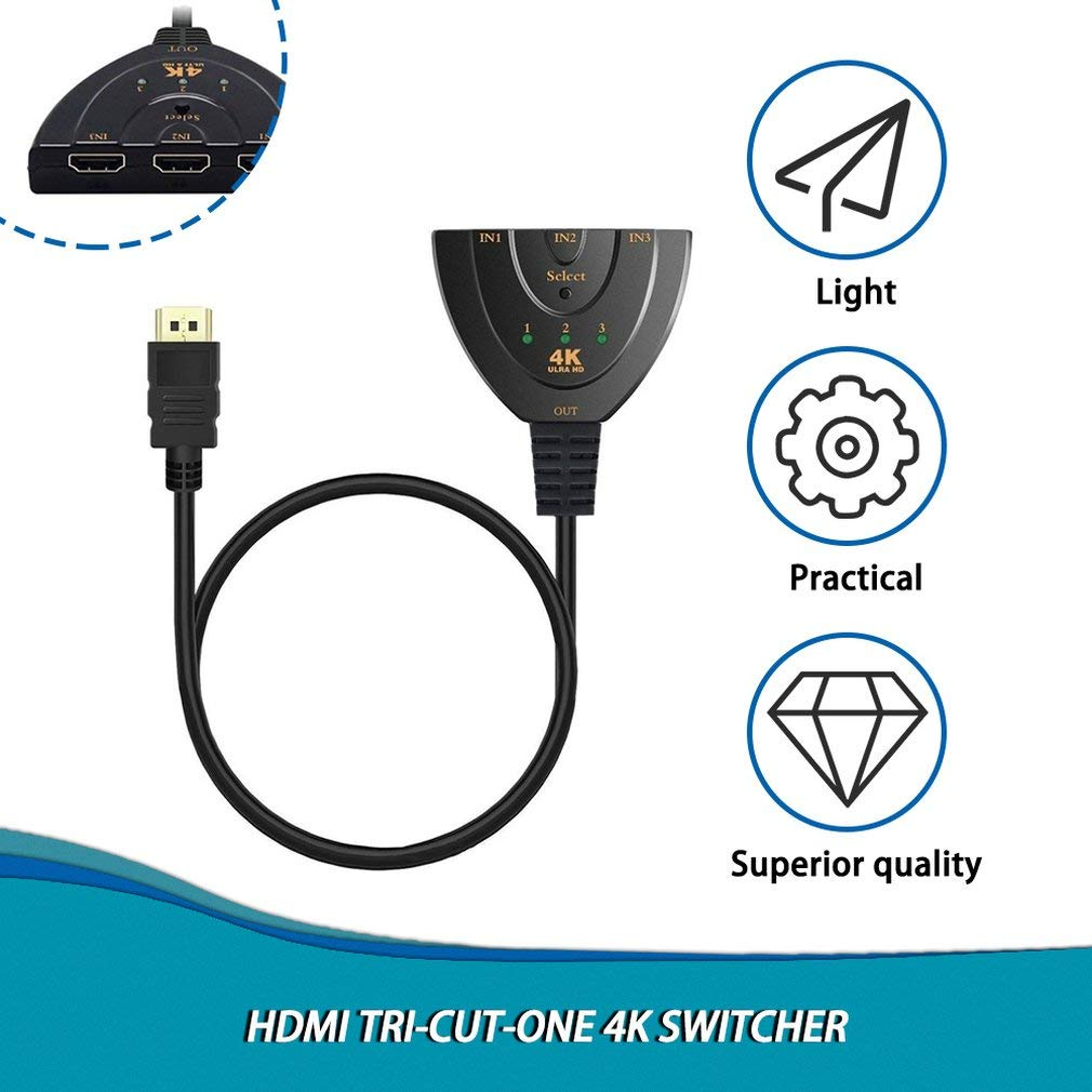 Kitechildhood Portable 3 Port HDMI Splitter Adapter Cable HDMI ...