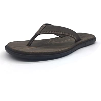 59f70fae5 jiajiale Mens Yoga Foam Flip Flops Arch Support Flat Cushioned Thong Sandals  Non Slip Summer Beach
