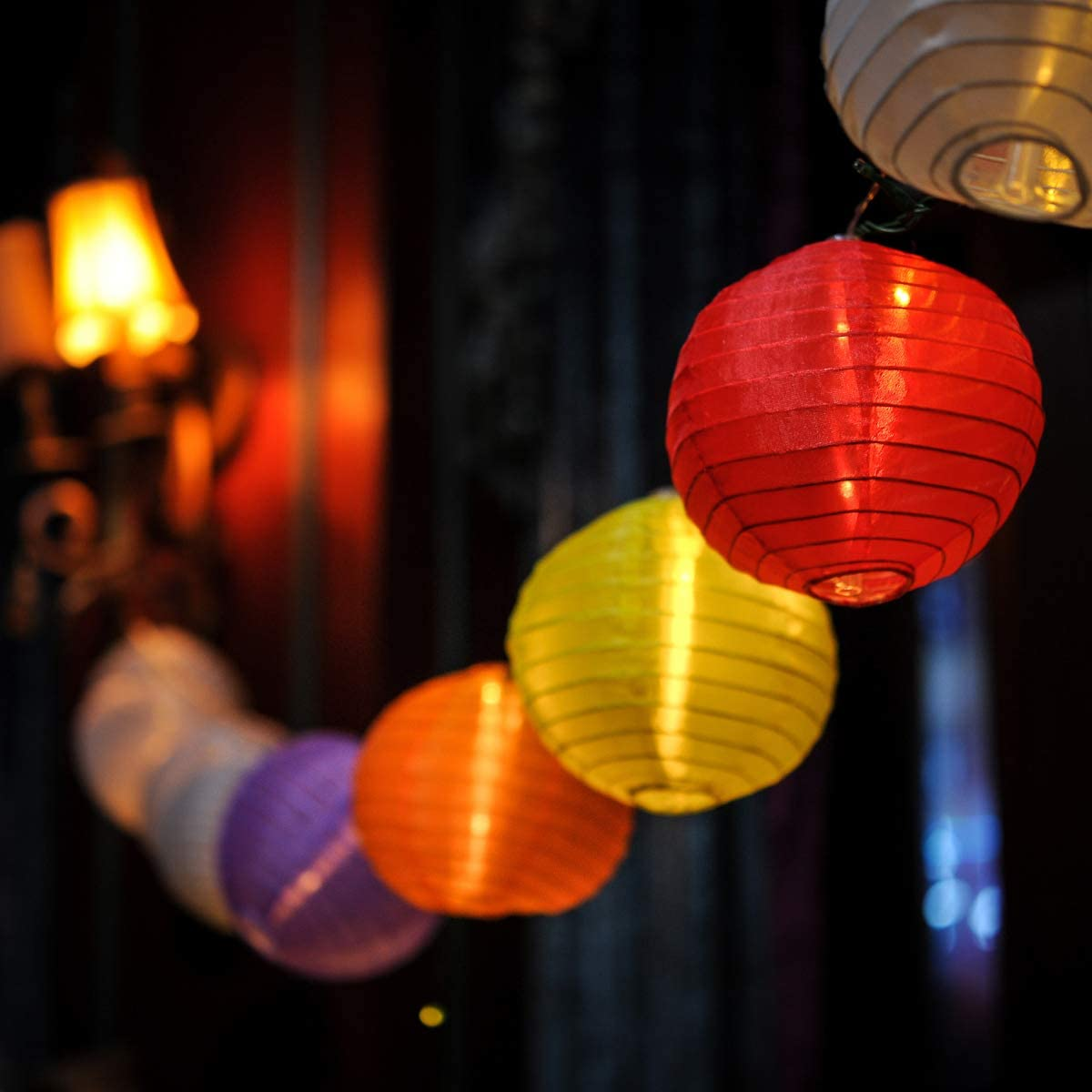 Festival Depot 12FT 20 Pcs Decorative Paper Lantern String Lights for Outdoor Garden Deck Balcony and Indoor Room Christmas Halloween Party Colorful (String Lantern Light)