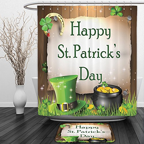 in And Ground MatHappy St. Patricks Day Gift Holiday for Celebration Partys in Irish Shamrock Leaf The Lucky Clovers Gold Horseshoe Coin Traditional Decor Hat Green Yellow BrownSho ()