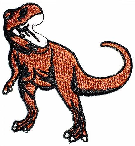 Designer Clothing Fabrics - Brown Dinosaur Animal Extinct Tyrannosaurus Patch Cartoon Kids Symbol DIY Iron on Patch Iron-On Designer Patch Used for Gifts Crafts Jeans Clothing Fabric