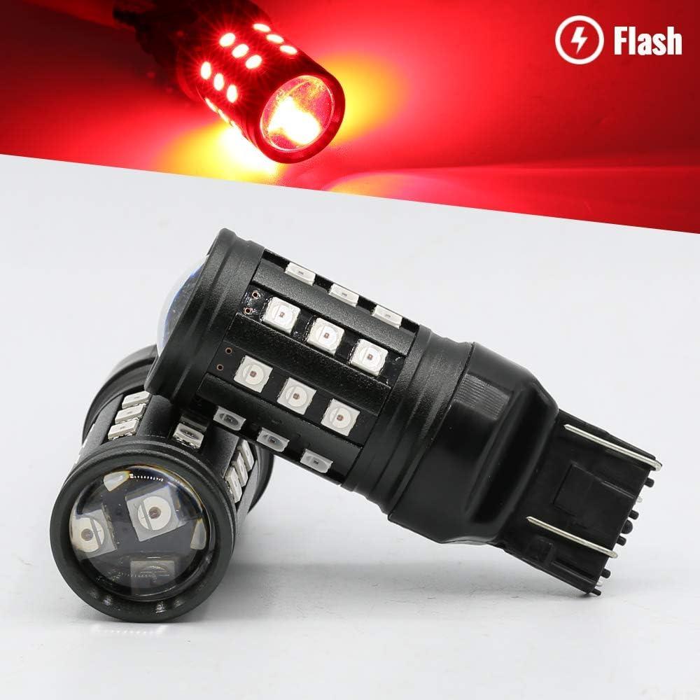 7443 Syneticusa Red Flashing Strobe Blinking Rear Alert Safety Brake Tail Stop High Power LED Light Bulbs