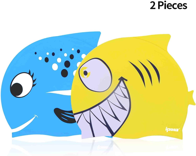 ipow [2 PCS - Gorros de natación para niños Silicona no tóxica Antideslizante, Impermeable, para el Cuidado del Cabello para niños y Adolescentes
