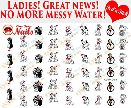 DISNEY 101 Dalmatians clear vinyl Peel and Stick (NOT Waterslide) nail art decals/stickers. Set of 51. -