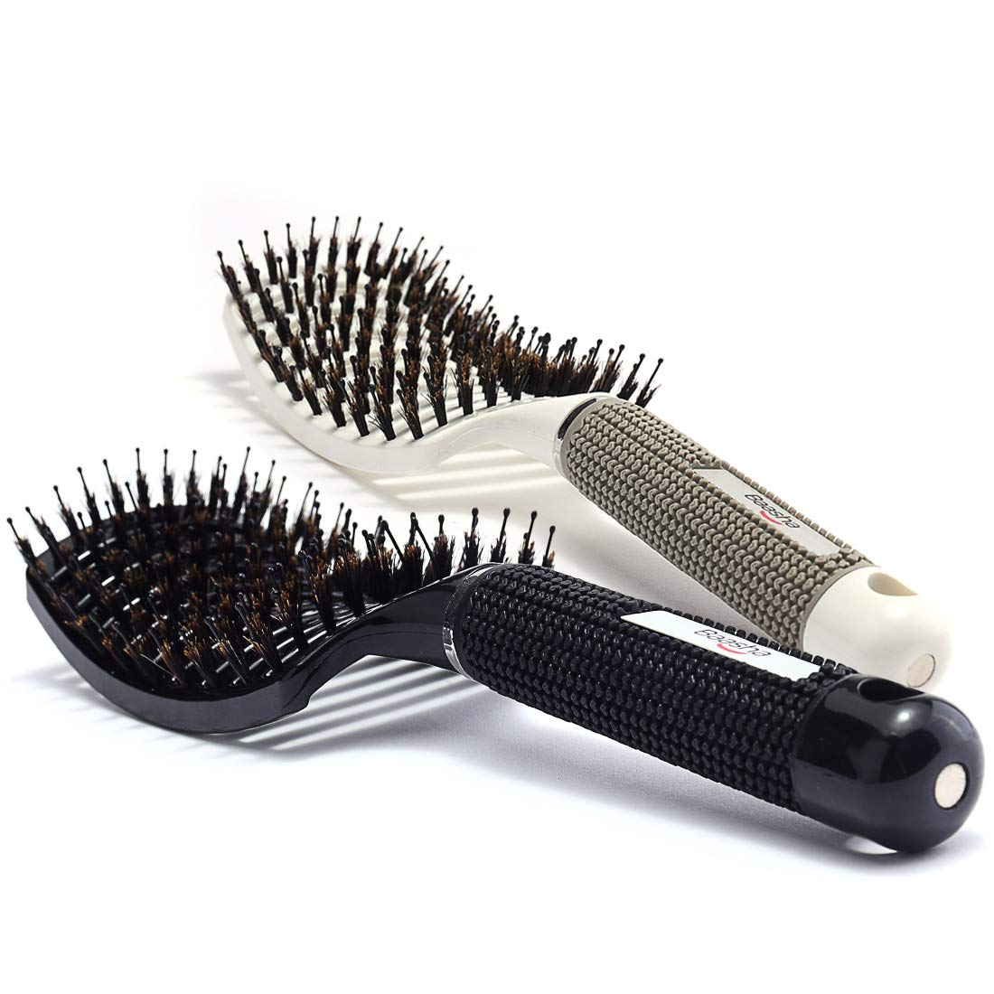 Baasha Detangling Hair Brush for Curly Hair, Boar Bristle Hair Brush Set of 2 Black & White, Large Boar Bristle Vent Brush For Blow Drying for Women, Curved Hair Brush Vented With Boar Bristle