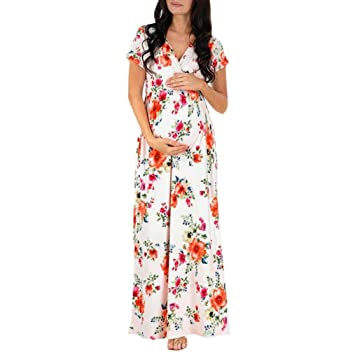 731aa99a3c Amazon.com   Wesracia Pregnant Women Dress V-Neck Floral Printing Short  Sleeve Nursing Pregnancy Dress Maternity Long Dress (White