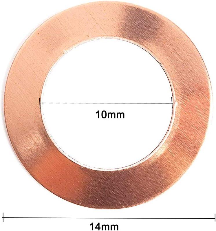 YXQ 16x22x1mm Copper Crush Washer Flat Ring Seal Gasket Fitting M16 24Pcs