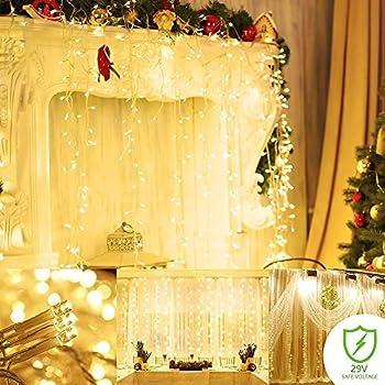 Amazon.com: ADDLON String lights Curtain, 300 LED Icicle Wall Lights ...