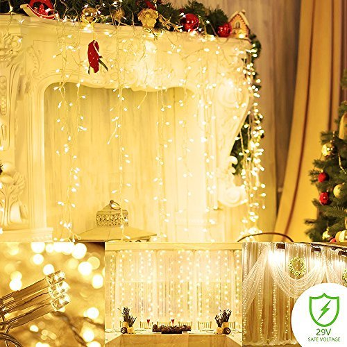 Gold Twinkling Christmas Lights - Fairy string Curtain lights Wall Icicle lights, 9 modes Linkable Window fairy Christmas lights,UL certificated lights for Home,Party, Outdoor, Wedding Backdrops Warm White (9.8x9.8 300led)