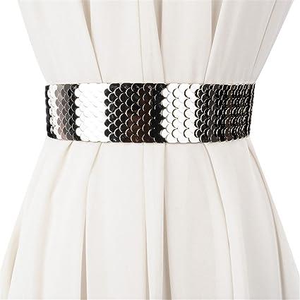 YXLMZ Cinturón de Mujer Piel Cinturón Ancho Elástico Cristal Decoración  Nupcial Boda Plateado 82740f1fa82f