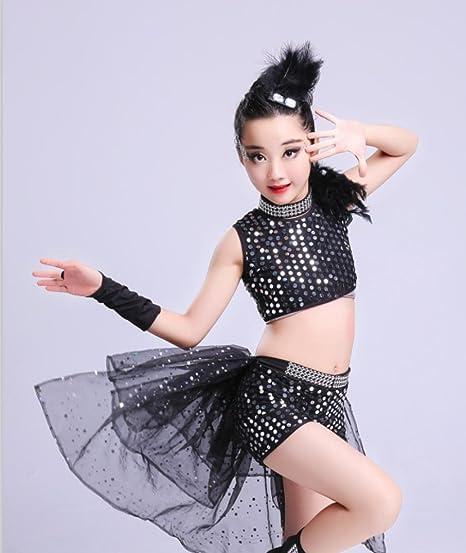HUOFEINIAO-Abbigliamento da ballo Abiti per bambini performance jazz danza  ragazza performance glitter bambini vestiti moderni di hip-hop latino   Amazon.it  ... ad9b8b68fa20