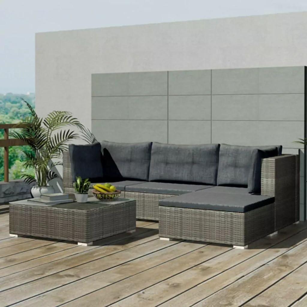 Namotu vidaXL 5-TLG. Garten-Lounge-Set mit Auflagen Poly Rattan Grau