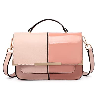 97d750da88 Miss Lulu 2017 New Fashion Half and Half Faux Leather Look Shoulder Bag  Satchels PU Leather Top Handle Tote Handbag for Women Pink  Amazon.co.uk   Shoes   ...