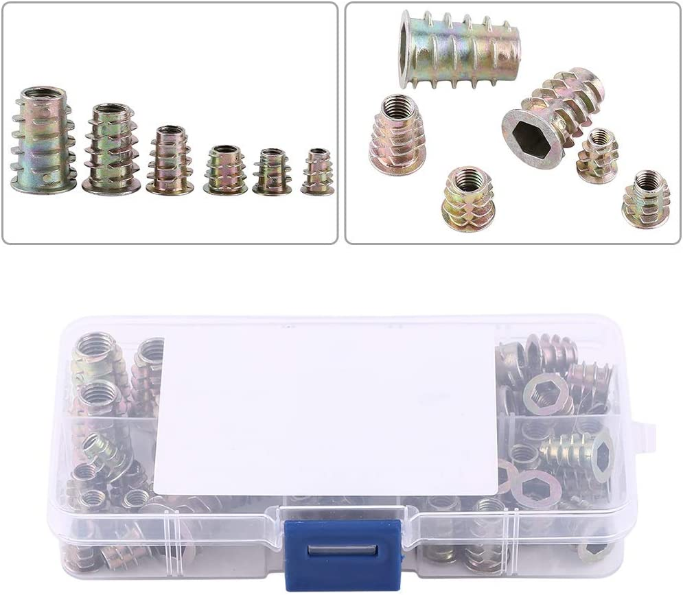 M4//M5//M6//M8//M10 Zinc Alloy Furniture Screw In Nut Fastener Connector Hex Socket Drive for Wood Assortment GY0722-01SS 50pcs Threaded Insert Nuts