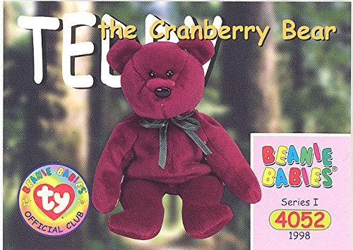 (TY Beanie Babies BBOC Card - Series 1 Common - TEDDY CRANBERRY NEW FACE BEAR )