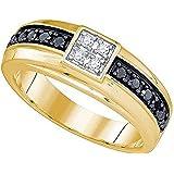 0.49 Carat (ctw) 10K Yellow Gold Round Cut White & Black Diamond Men's Wedding Band 1/2 CT