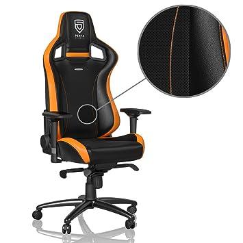 De Noblechairs Pu Epic Orange Noir Cuir Chaise Jeu Synthétique Bureau j54ALR
