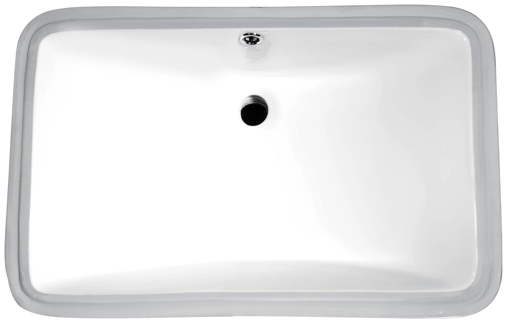 20.5'' Ceramic Undermount Sink - Glossy White - Dahlia Series LS-AZ113 - ANZZI
