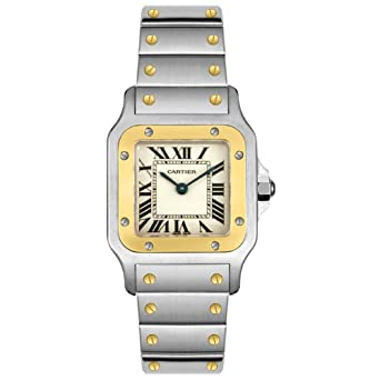 ac8f60c52fce Image Unavailable. Image not available for. Color  Cartier Women s W20012C4 Santos  18K Gold and Stainless ...