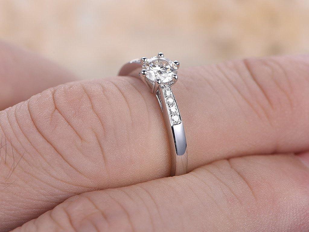 Amazon.com: MYRAYGEM-wedding ring sets 5mm Round Cut Moissanite ...